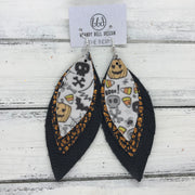 INDIA - Leather Earrings   ||  <BR>  HALLOWEEN PRINT (FAUX LEATHER),  <BR> METALLIC ORANGE BISON,  <BR> MATTE BLACK