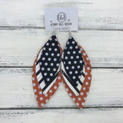 INDIA - Leather Earrings   ||  <BR>  BLACK & WHITE POLKADOTS,  <BR> BLACK & WHITE STRIPE,  <BR> ORANGE WITH WHITE POLKADOTS