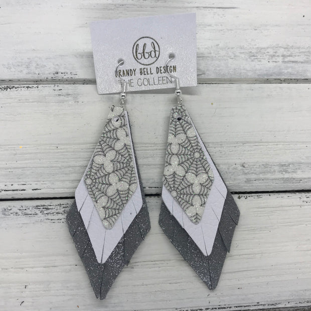 COLLEEN -  Leather Earrings  ||   <BR> GLITTER SPIDER WEBS (FAUX LEATHER), <BR> MATTE WHITE, <BR> SHIMMER GRAY