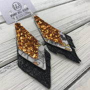 COLLEEN -  Leather Earrings  ||   <BR> ORANGE GLITTER (FAUX LEATHER), <BR> HALLOWEEN PATTERN (FAUX LEATHER), <BR> SHIMMER DISTRESSED BLACK