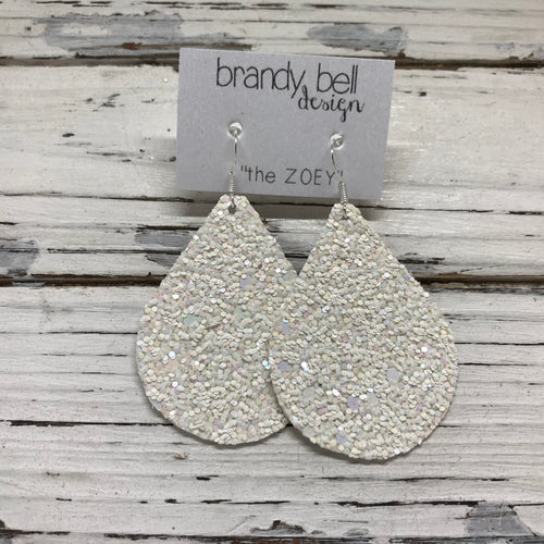 miniZOEY + ZOEY -  GLITTER ON CANVAS Earrings  (not leather)  ||  IRIDESCENT WHITE GLITTER