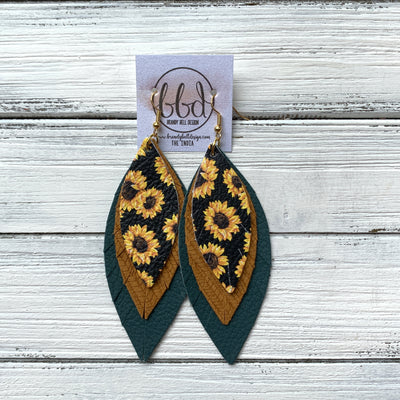 INDIA - Leather Earrings   ||  <BR>  SUNFLOWER ON BLACK,  <BR> MUSTARD PALMS, <BR> MATTE SPRUCE GREEN