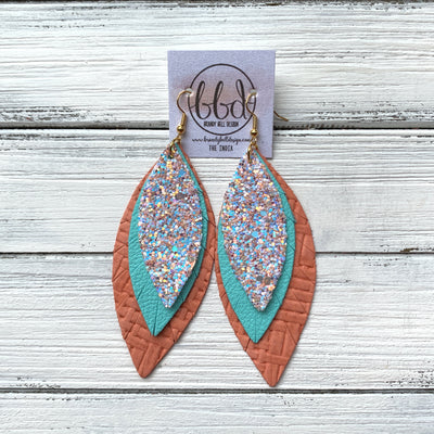 INDIA - Leather Earrings   ||  <BR>  PEACHES N CREAM GLITTER (FAUX LEATHER),  <BR> ROBINS EGG BLUE, <BR> SALMON PANAMA WEAVE