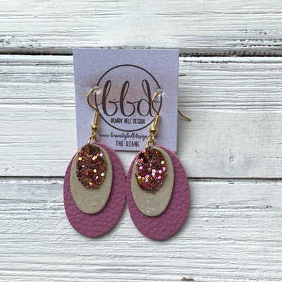 DIANE - Leather Earrings  ||    <BR> PINK & GOLD GLITTER (FAUX LEATHER), <BR> SHIMMER GOLD, <BR> MATTE MAUVE