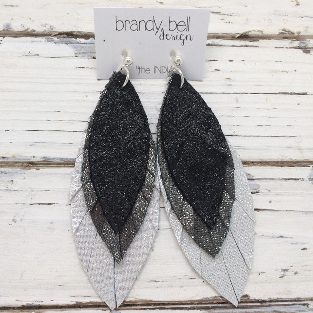 INDIA - Leather Earrings  || SHIMMER BLACK, SHIMMER PEWTER, SHIMMER SILVER