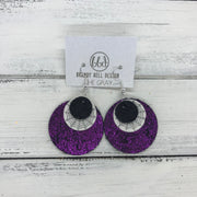 GRAY - Leather Earrings  ||    <BR>SHIMMER BLACK, <BR> GLITTER SPIDER WEBS (FAUX LEATHER),  BR> SHIMMER FUCHSIA