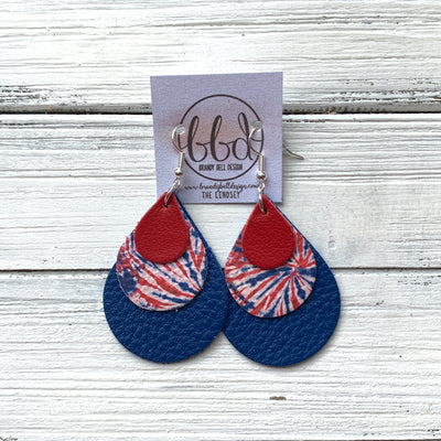 LINDSEY - Leather Earrings  ||   <BR> MATTE RED, <BR> RED, WHITE, BLUE FIREWORK TIE DYE,  <BR> MATTE COBALT BLUE
