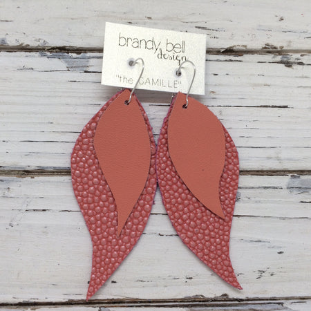 CAMILLE - Leather Earrings || OOAK (One of a Kind)  MATTE SALMON, TEXTURE SALMON