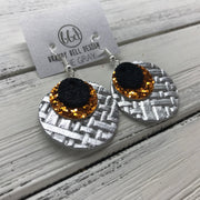 GRAY - Leather Earrings  ||    <BR> SHIMMER BLACK, <BR> ORANGE GLITTER (FAUX LEATHER),  <BR> METALLIC SILVER PANAMA WEAVE