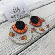 GRAY - Leather Earrings  ||    <BR> SHIMMER BLACK, <BR> METALLIC ORANGE PEBBLED,  <BR> CANDY CORNS (FAUX LEATHER)