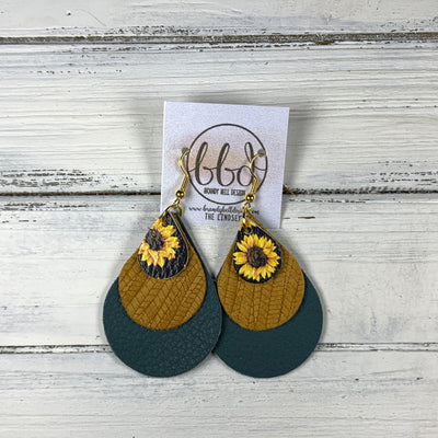 LINDSEY - Leather Earrings  ||   <BR> SUNFLOWER ON BLACK, <BR> MUSTARD PALMS,  <BR> MATTE SPRUCE GREEN