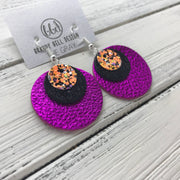 GRAY - Leather Earrings  ||    <BR> BRIGHT ORANGE HALLOWEEN GLITTER (FAUX LEATHER), <BR> SHIMMER BLACK,  <BR> METALLIC NEON PINK