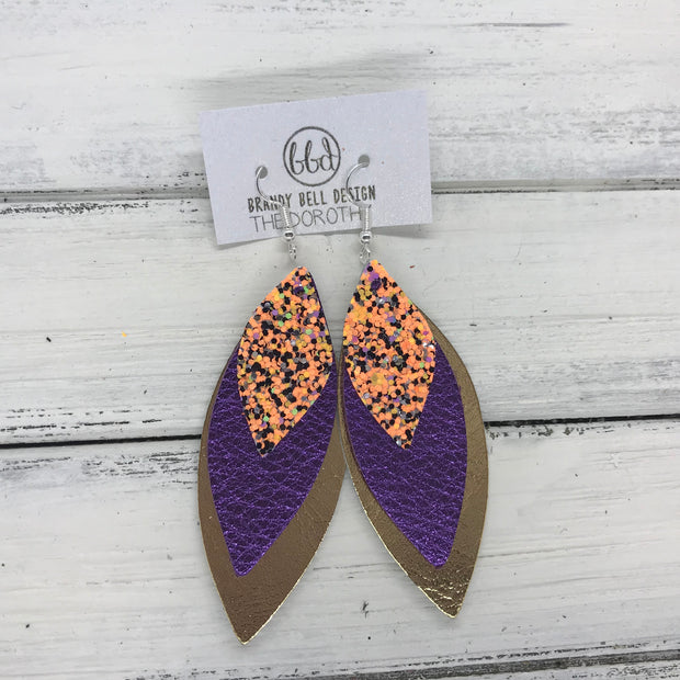 DOROTHY - Leather Earrings  ||  <BR> BRIGHT ORANGE HALLOWEEN GLITTER (FAUX LEATHER), <BR>  METALLIC PURPLE PEBBLED,  <BR> METALLIC GOLD SMOOTH