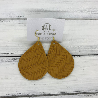 ZOEY (3 sizes available!) -  Leather Earrings  ||   MUSTARD YELLOW BRAIDED