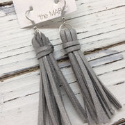 MARIE - Faux Suede Tassel Earrings  ||  SPARKLE SILVER