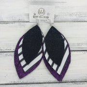 GINGER - Leather Earrings  ||  <BR>  SHIMMER BLACK, <BR> BLACK & WHITE STRIPE, <BR> SHIMMER FUCHSIA