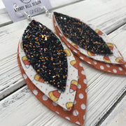 GINGER - Leather Earrings  ||  <BR> BLACK & ORANGE GLITTER (FAUX LEATHER), <BR> CANDY CORNS (FAUX LEATHER), <BR> ORANGE AND WHITE POLKADOTS