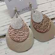 LINDSEY - Leather Earrings  ||  SHIMMER ROSE GOLD, METALLIC ROSE GOLD TEXTURE, METALLIC CHAMPAGNE