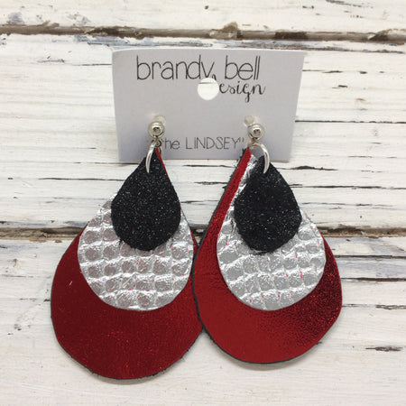 LINDSEY - Leather Earrings  ||  SHIMMER BLACK, METALLIC SILVER COBRA, METALLIC RED