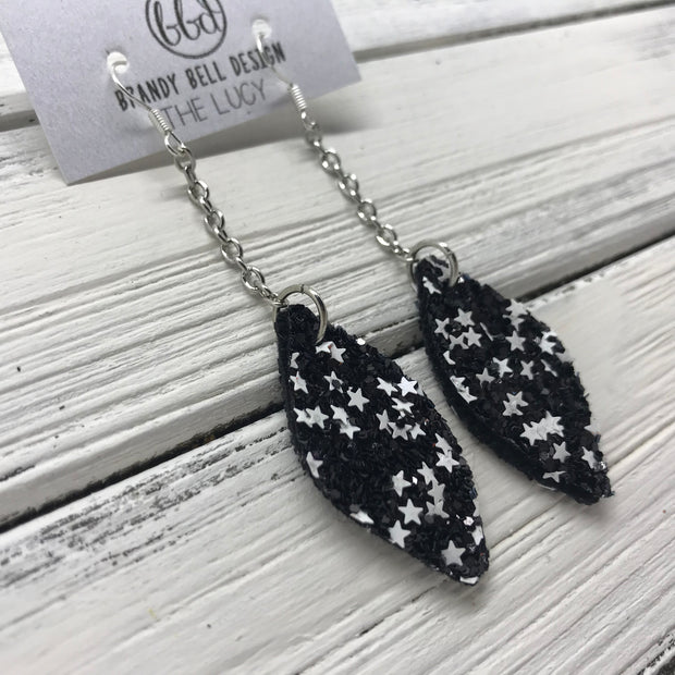 LUCY -  Leather Earrings  ||    DOUBLE SIDED-  BLACK & WHITE STARS GLITTER (FAUX LEATHER)