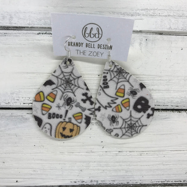 ZOEY (3 sizes available!) -  Leather Earrings  ||   HALLOWEEN PRINT (FAUX LEATHER) *pattern placement will vary!*