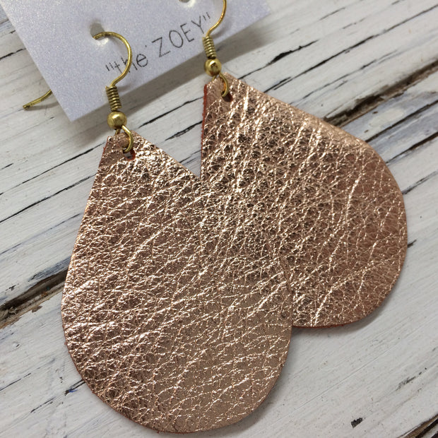 ZOEY (3 sizes available!) - Leather Earrings  ||  METALLIC ROSE GOLD