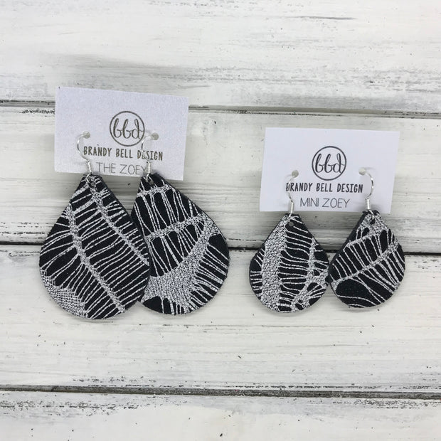 ZOEY (3 sizes available!) -  Leather Earrings  ||  WHITE ON BLACK WEBS