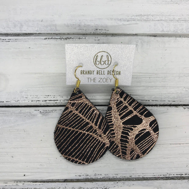 ZOEY (3 sizes available!) -  Leather Earrings  ||  METALLIC ROSE GOLD ON BLACK WEBS