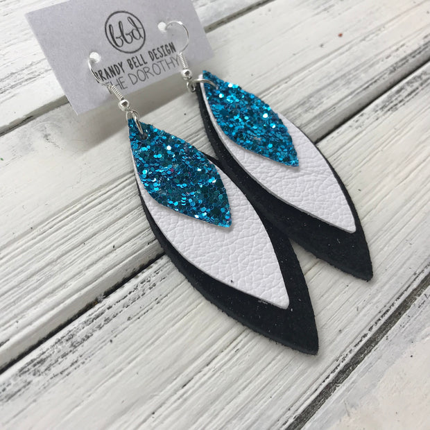 DOROTHY - Leather Earrings  ||  <BR> TEAL GLITTER (FAUX LEATHER)  <BR> MATTE WHITE <BR> SHIMMER BLACK