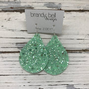 ZOEY (3 sizes available!) -  GLITTER ON CANVAS Earrings  (not leather) || MINT GLITTER