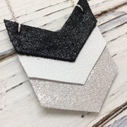 EMERSON - Leather Necklace  || SHIMER BLACK, WHITE, SHIMMER SILVER
