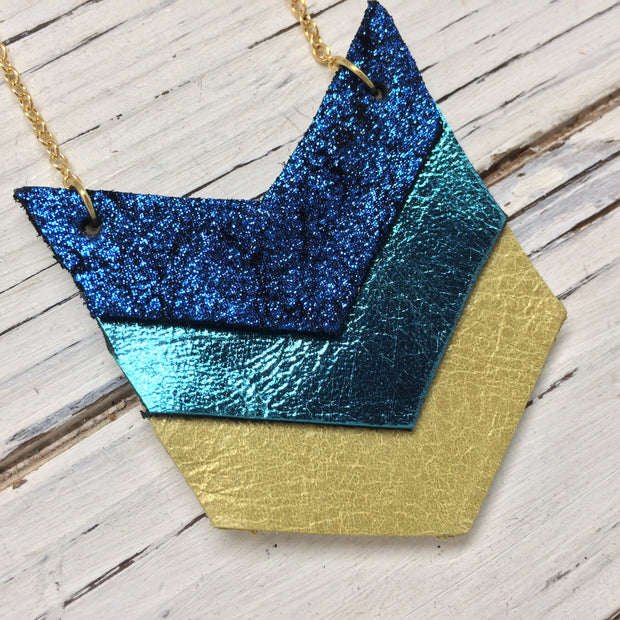 EMERSON - Leather Necklace  || SHIMER BLUE, METALLIC TEAL, PEARLIZED DISTRESSED OCHRE