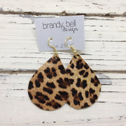 ZOEY (3 sizes available!) - Leather Earrings  ||  LEOPARD / CHEETAH ANIMAL  PRINT