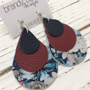 LINDSEY - Leather Earrings  ||  MATTE NAVY BLUE, MATTE BURGUNDY, VINTAGE FLORAL