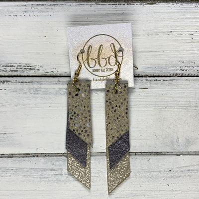 CODY - Leather Earrings  || <BR> IVORY STINGRAY, <BR> PEARLIZED GRAY, <BR> SHIMMER CHAMPAGNE