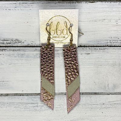 CODY - Leather Earrings  || <BR> PINK WITH GOLD ACCENTS, <BR> SHIMMER GOLD, <BR> ROSE GOLD ON PINK NORTHERN LIGHTS