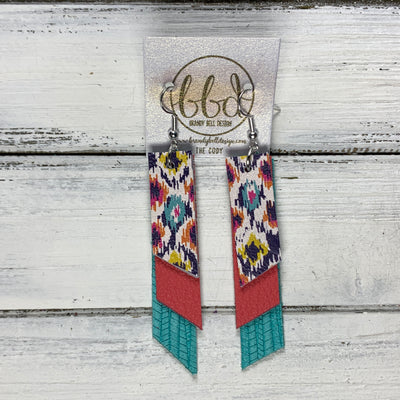 CODY - Leather Earrings  || <BR> MULTICOLOR IKAT PRINT, <BR> MATTE CORAL/PINK, <BR> AQAU PALMS