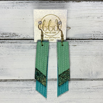 CODY - Leather Earrings  || <BR> MINT PALMS, <BR> IRIDESCENT SHIMMER GREEN/GOLD, <BR> AQAU PALMS