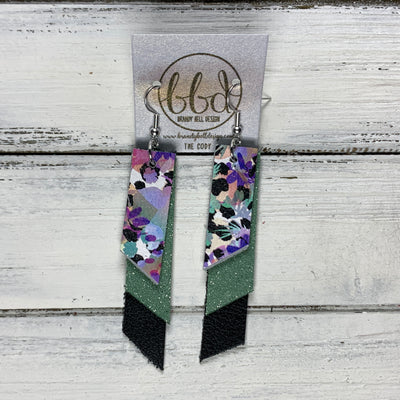 CODY - Leather Earrings  || <BR> PURPLE FLORAL CHEETAH, <BR> SHIMMER MINT, <BR> MATTE BLACK