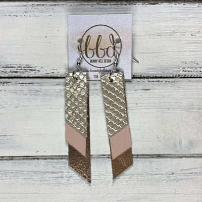 CODY - Leather Earrings  || <BR> METALLIC CHAMPAGNE COBRA, <BR> MATTE BLUSH, <BR> METALLIC ROSE GOLD SMOOTH