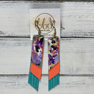 CODY - Leather Earrings  || <BR> PURPLE CHEETAH FLORAL, <BR>NEON ORANGE SAFFIANO, <BR> AQUA PALMS