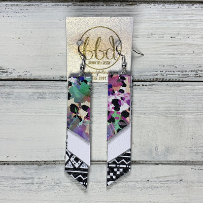CODY - Leather Earrings  || <BR> PURPLE CHEETAH FLORAL, <BR>MATTE WHITE, <BR> BLACK & WHITE GEOMETRIC