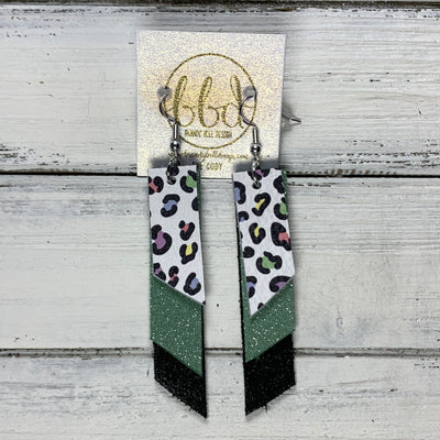 CODY - Leather Earrings  || <BR> PASTEL CHEETAH, <BR>SHIMMER MINT, <BR> SHIMMER BLACK