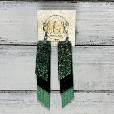 CODY - Leather Earrings  || <BR> SHIMMER IRIDESCENT GREEN/GOLD, <BR>SHIMMER BLACK, <BR> MINT PALMS