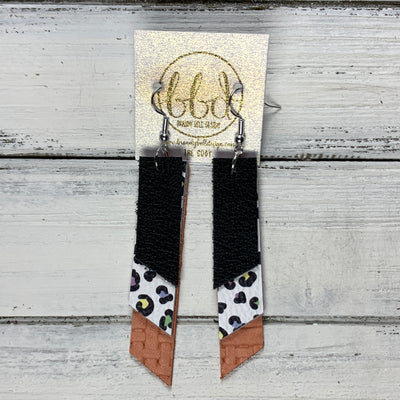 CODY - Leather Earrings  || <BR> MATTE BLACK, <BR> PASTEL CHEETAH, <BR> SALMON PANAMA WEAVE