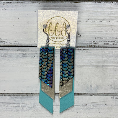 CODY - Leather Earrings  || <BR> METALLIC ANTIQUE MERMAID, <BR> METALLIC CHAMPAGNE SMOOTH, <BR> ROBINS EGG BLUE