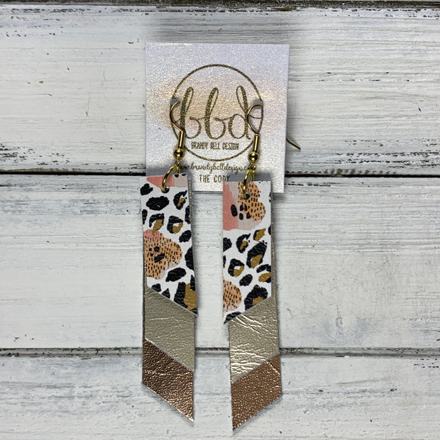 CODY - Leather Earrings  || <BR> CORAL FLORAL CHEETAH, <BR> METALLIC CHAMPAGNE SMOOTH, <BR> METALLIC ROSE GOLD SMOOTH