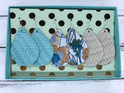 3pk ZOEY GIFT BOX! (Original Size) Leather Earrings <br> AQUA BRAIDED, WATERCOLOR FLORAL, LINEN BRAIDED