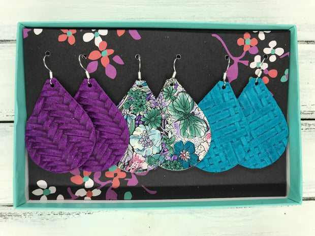 3pk ZOEY GIFT BOX! (Original Size) Leather Earrings <br> PURPLE BRAIDED, TEAL/PURPLE FLORAL, TEAL PANAMA WEAVE