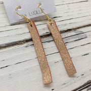 LUCILLE - Leather Earrings  ||  METALLIC ROSE GOLD / COPPER